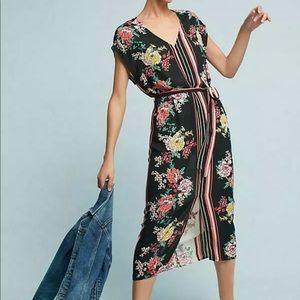 Anthropologie size XS floral midi dress tie waist